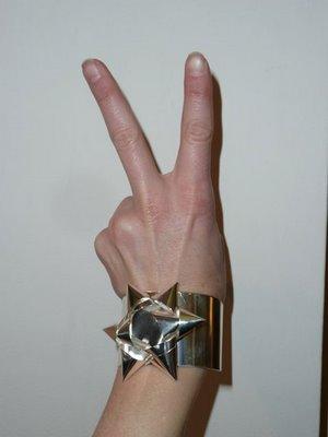 Margiela silver gift bow cuff