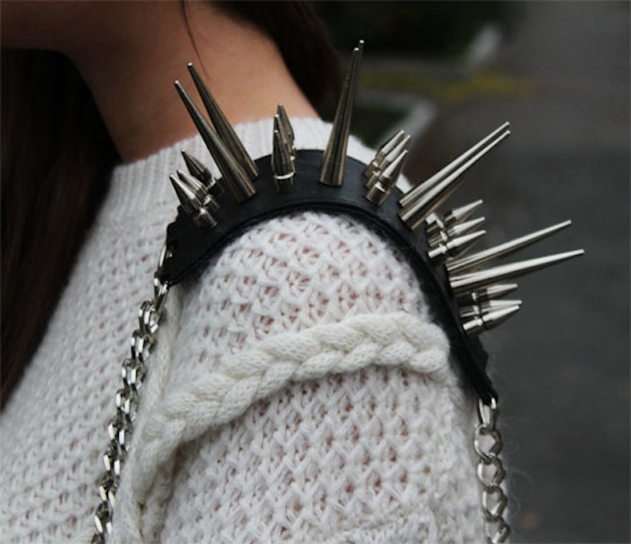 spiked bag shoulder strap